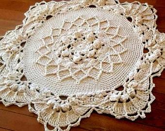 Crochet rug, crochet carpet, round rug, knitted carpet, knitted rug 48,5 inc