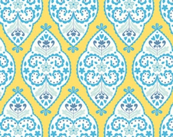 "Dena Designs ""Sunshine Collection"" Decorator Linen/Cotton Blend Fabric Medallion in Yellow 54/55"" Wide"