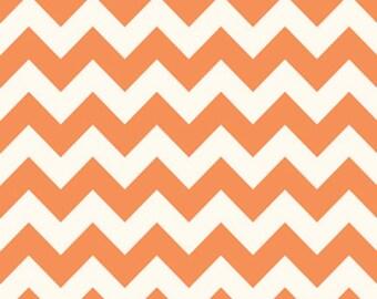 "Riley Blake ""Le Creme"" Medium Orange Chevron on Cream Fabric"
