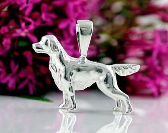 Springer Spaniel Dog Charm 3D Pendant - Sterling Silver