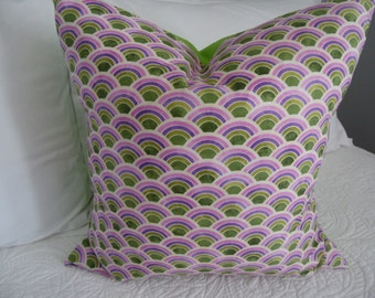 Scalloped patterned pillow cover. Purple.green.white Tween/Teen pillow cover. Product ID#P0064