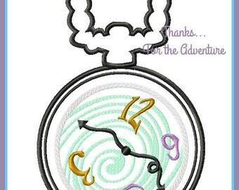Cheshire Cat Pocket Watch from Alice in Wonderland Digital Embroidery Machine Applique Design File 4x4 5x7 6x10