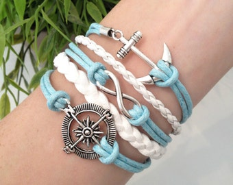 Nautical Bracelet, Anchor Jewelry, Ocean Bracelet, Compass Bracelet, Blue Cord Wrap, Infinity Charm, Beach, Boating, Antique Silver