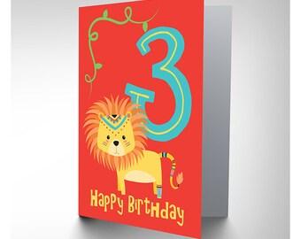 Card Birthday Kids Three 3 Lion Brave CP2981