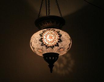 Boho Bohemian Decor Handmade Pink & White Turkish Mosaic Glass Hanging Lantern Lamp Pendant Light Lampshade