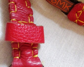 Belt leather red and grey anthracite