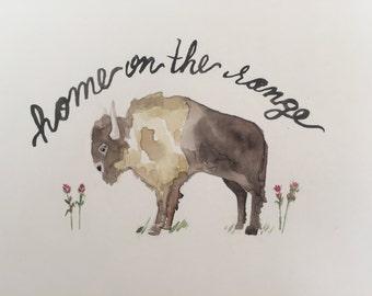 Home on the Range Buffalo Watercolor