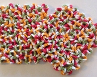 Multi-colored, Green, Red & Yellow Trivet, Hot Pot Holder