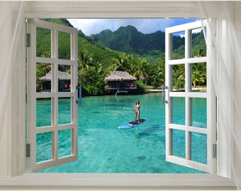WINDOW ONTO TAHITI Scenic Poster Turquoise Water Paddle Boarder 24X36 New