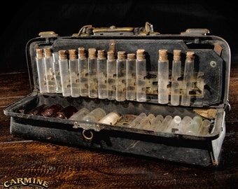 Antique Medical Case With Empty Bottle and Tools