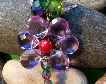Purple Crystals Flower Necklace
