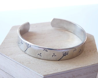 SECRET MESSAGE INSIDE Look! Dandelion cuff bracelet, Jewellery for Women, Mother's Day, Birthday Gift, Mother, Friend, Sister, Inspirational