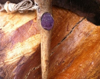 amethyst deer antler pendant