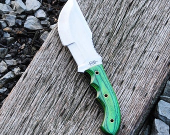 Custom Handmade Fixed Blade 440C Stainless Steel Bushcraft Tracker Knife (Green G10 Handle)