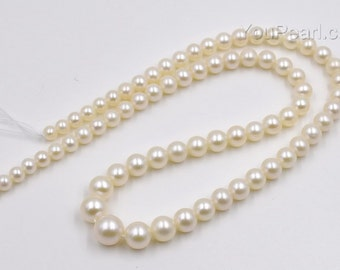 White gradual sizing pearl AA+ 3-9mm fine round pearl strand for necklace, freshwater pearl, natural real pearl,FR200-WS