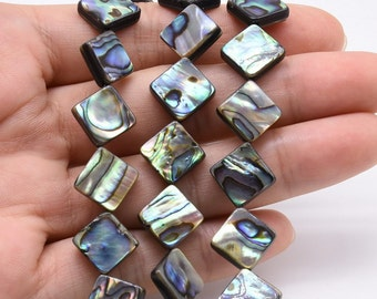Paua shell, 10x10mm dia-square shape shell beads, natural abalone paua shell beads, loose abalone shell, full strand, ABA1150