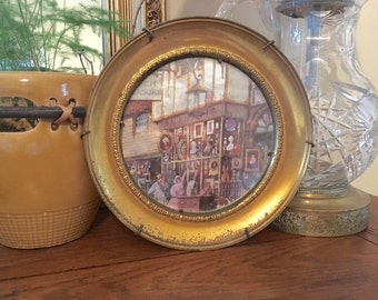 Fabulous Brass Vintage English Foil Art Plate