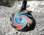 heady glass pendant, heady pendants, spinning colorful glass wave pendant, glass necklace, blown glass, lampworking, heady necklace, heady