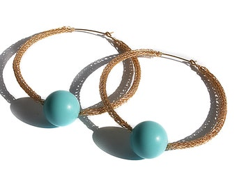 Gold Hoop Wire Crochet Earrings With Light Blue Beads, Large Hoop Earrings