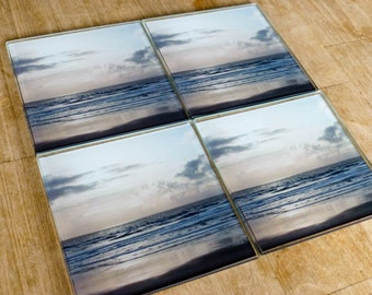 Beach Coasters ~ Silver Gray Glass Coasters, Ocean Coaster Set of 4, Beach House Decor, Beach Gift, Kitchen Decor, Monochromatic Photography