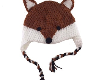 Fox Hat, Ear Flap Hat, Crochet earflap hat, Crochet Fox Hat, Hat with Ears, Fox Ears, Foxy Hat, Crochet Winter Hat, Warm Hat, Animal Hat