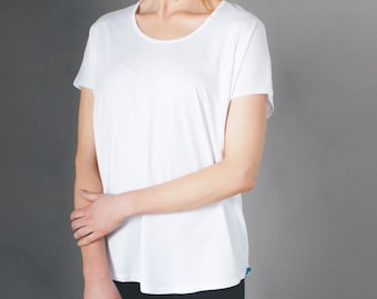 Women's Bamboo Tee Shirt - Relaxed Fit White