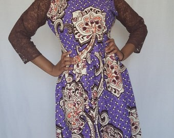 Trenzycreations Purple brown African dress with a lace sleeve