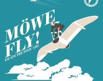 Nausicaa Travel: Mowe Fly -  LADIES FIT Ghibli T-Shirt - Anime Travel Design Clothing