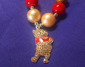 Winnie the Pooh Toddler Bubblegum Necklace.  Pooh Bear Girls Gumball Necklace
