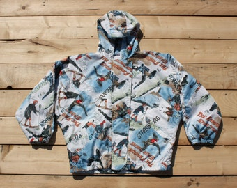 Winter ski snowboard bomber Jacket JUNIOR CLUB vintage 1990s  logo rare Woman  Taglia/Size: M
