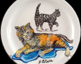 Cat Napping, 7 1/2 in plate,