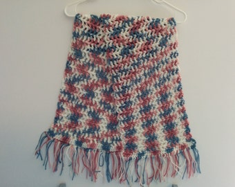 Pink White and Blue Scarf