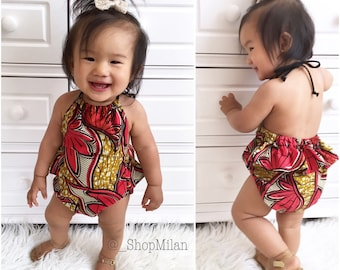 Red African Princess Romper