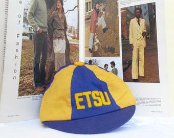 Vintage ETSU Blue and Gold Beanie, Rat Week Memorabilia, Small, Round, Tight Fitting Cap, Rat Cap, ETSU Graduation Gift, Johnson City, Tenn