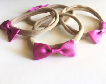 Small bow headband | satin bow headband, nylon headband, purple bow headband, baby bow headband