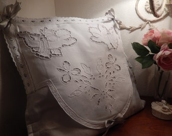 decorative cushion with embroidery of cherubs and flowers hand made grey and white