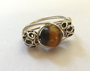 Silver tiger eye wire wrapped ring-Sterling Silver- size 6.5