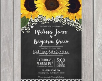 Sunflower Wedding Invite/ Save our Date/ Wedding Invitation Suite-PRINTABLE- Chalkboard -Floral Rustic Wedding Invitation- Postcard RSVP