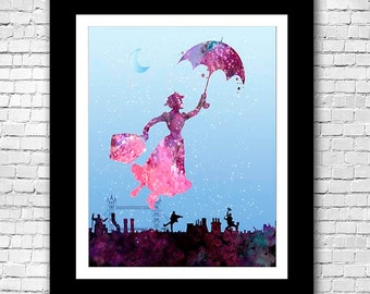 Mary Poppins Watercolor Print Poster - Buy 2 Get 1 FREE