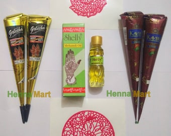 Black Henna + Natural Henna  + 2 Stencils + 1 Shelly Henna Oil For Brighter Output (Henna Starter Kit) Temporary Tattoo Body Art Kit