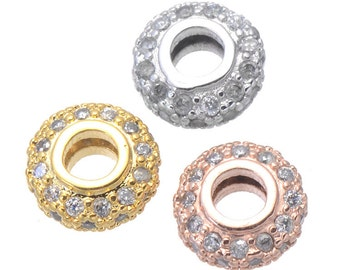 High Quality Bulk 5 Micro Pave CZ Cubic Zirconia Rondelle Beads 8mm x 3.5mm