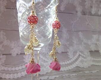 Long earrings Drop earrings Flowers earrings Roses long earrings Bead earrings Floral earrings Crystal earrings Gift for her