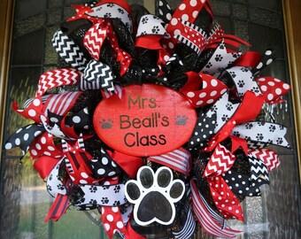 Dog Wreath-Mini, Teacher Wreath-Mini, Classroom Wreath-Mini, School Wreath-Mini, Classroom decor, Classroom Door Hanger