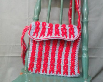 Messenger Bag Tote Light Blue and Bright Red Cabled Handmade Cochet