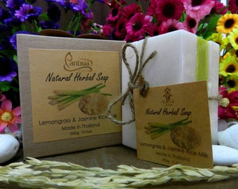 All Natural Handmade Soap Gift Set , Rice Milk, Lemongrass with All Natural Ingredients 300 G