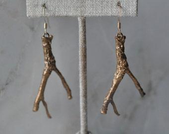 Small bronze branch earrings