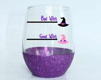 Halloween Wine Glass - Witch Wine Glass - Good Witch Bad Witch Wine Glass - Halloween Party Glass - Cute Halloween Glass