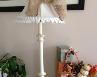 Burlap and lace shabby upcycled lamps.