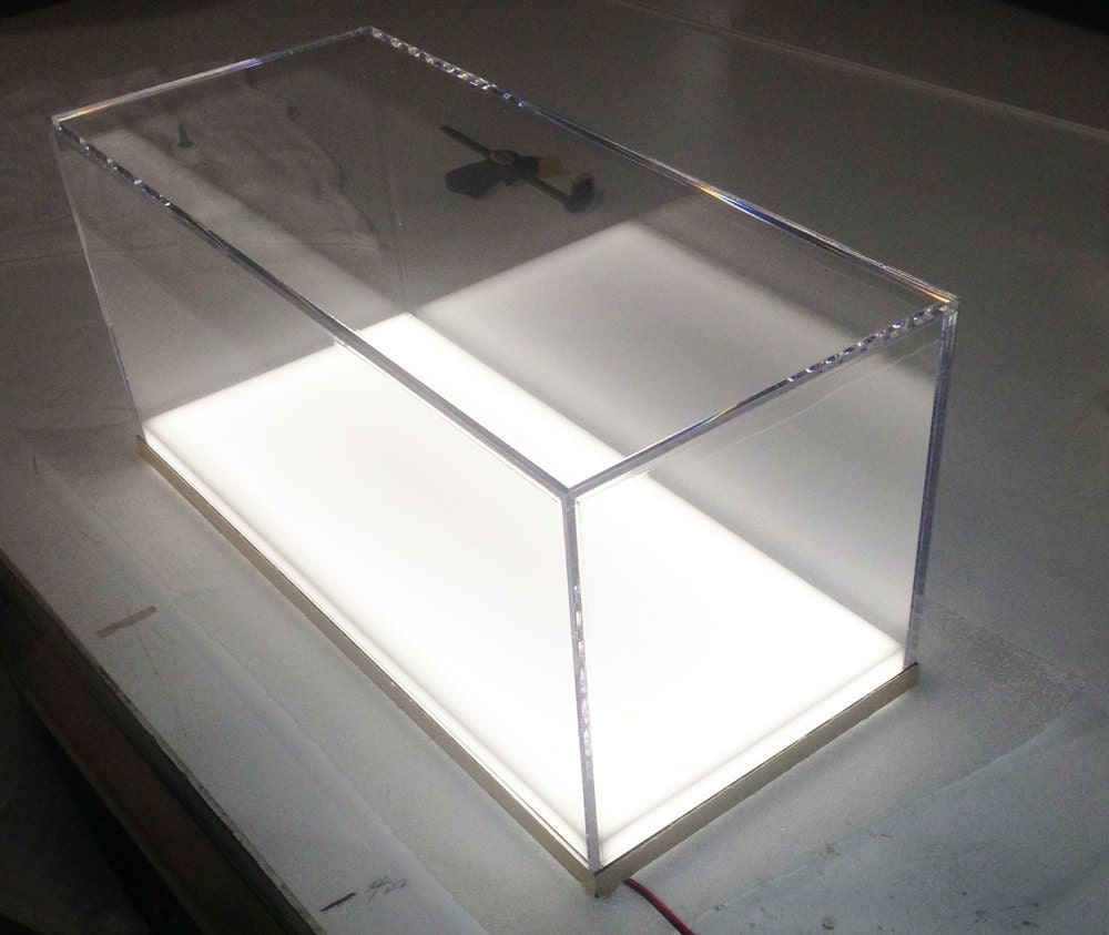 custom fabricated clear acrylic display case box white. Black Bedroom Furniture Sets. Home Design Ideas