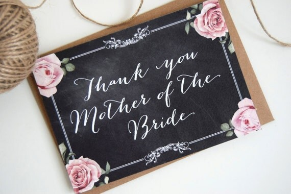 Chalkboard Wedding Bride & Grooms Parent Thank You Cards